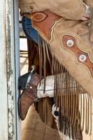 Cowgirl Standing In Doorway Of Old Log Cabin Fine Art Print