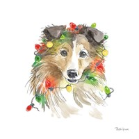 Holiday Paws IX on White Fine Art Print