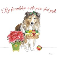 Holiday Paws III on White Fine Art Print