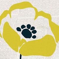 Pop Art Floral III Yellow Newsprint Framed Print