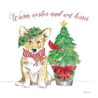 Holiday Paws V on White Fine Art Print