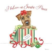 Holiday Paws II on White Fine Art Print
