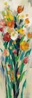Tall Bright Flowers Cream II Framed Print