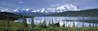 Snow Covered Mountain Range At The Lakeside, Mt Mckinley, Wonder Lake, Alaska Fine Art Print