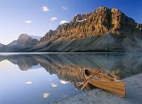Canoe At The Lakeside, Bow Lake, Alberta, Canada Fine Art Print