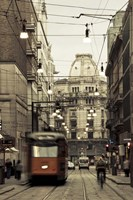 Tram On A Street, Piazza Del Duomo, Milan, Italy Fine Art Print