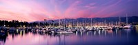 Boats Moored In Harbor At Sunset, Santa Barbara Harbor, California Fine Art Print