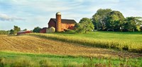 Field With Silo And Barn In The Background, Ohio Fine Art Print
