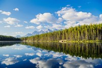 Scenic Landscape Reflecting In Lake At Banff National Park, Alberta, Canada Fine Art Print