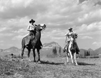 Pair Of Cowboys On Horseback At Glacier Fifty Mountain Camp Fine Art Print