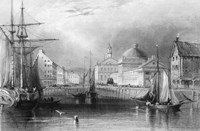 Skyline Boston Massachusetts From Waterfront Showing Fanueil Hall Engraving By T. A. Prior From Bartlett Fine Art Print