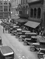 1936 Line Of Angle Parked Cars Downtown Main Street Knoxville Tennessee Fine Art Print
