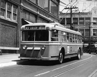 Vehicle Operates As Trackless Trolley Electric Bus Or Gasoline Bus Public Transportation Elizabeth NJ Fine Art Print