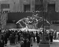 Group Of People At Rockefeller Center New York City Fine Art Print