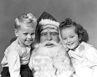 Santa Claus Posing With Young Boy And Girl Fine Art Print