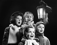 Children Singing Christmas Carols Outdoor By Lantern Light Fine Art Print