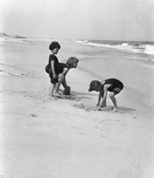 3 Kids Playing In The Sand On The New Jersey Shore Fine Art Print