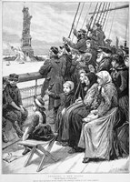 Group Of Arriving Immigrants Huddled On Ship Deck Waving At Statue Of Liberty Fine Art Print