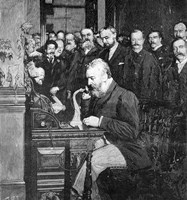 Engraving Of Alexander Graham Bell Making First Long Distance Telephone Call From New York To Chicago In 1892 Fine Art Print