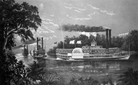 Steamboats Rounding A Bend On Mississippi River Parting Salute Currier & Ives Lithograph 1866 Fine Art Print