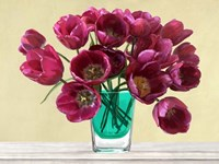 Red Tulips in a Glass Vase Fine Art Print