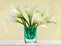 White Callas in a Glass Vase Fine Art Print