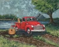 Red Truck Fishing Buddy Fine Art Print