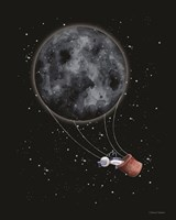 Moon Hot Air Balloon Fine Art Print
