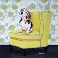 Beagle on Yellow Fine Art Print