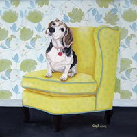 Beagle on Yellow Fine Art Print