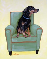 Dobie on Green Fine Art Print