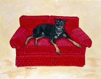 Dobie on Red Fine Art Print