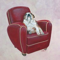 Bulldog on Red Fine Art Print