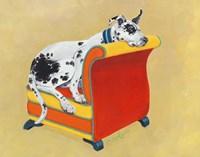 Great Dane on Orange Fine Art Print