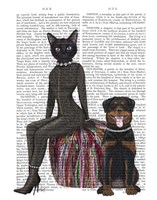 Black Cat and Rottweiler Book Print Fine Art Print