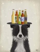 Border Collie Black White Beer Lover Fine Art Print