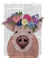Pig and Flower Crown Book Print Fine Art Print