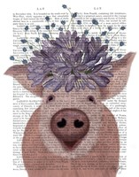 Pig and Lilac Flowers Book Print Fine Art Print