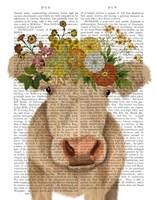 Cow Cream Bohemian 1 Book Print Fine Art Print