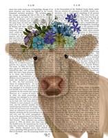 Cow Cream Bohemian 2 Book Print Fine Art Print
