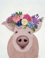 Pig and Flower Crown Fine Art Print