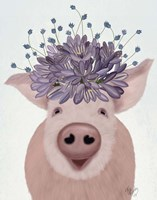Pig and Lilac Flowers Fine Art Print