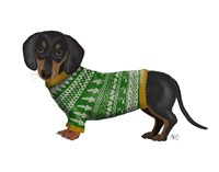 Christmas Des - Dachshund and Christmas Sweater Fine Art Print