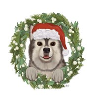 Christmas Des - Husky Wreath Fine Art Print