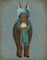 Donkey Blue Hat and Scarf Fine Art Print