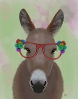 Donkey Red Flower Glasses Fine Art Print