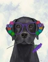Black Labrador and Flower Glasses Fine Art Print