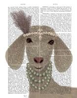 Posh White Goat Book Print Fine Art Print