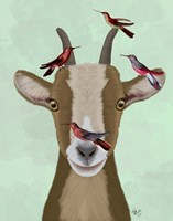 Goat and Red Birds Fine Art Print