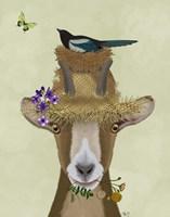 Goat In Straw Hat Fine Art Print